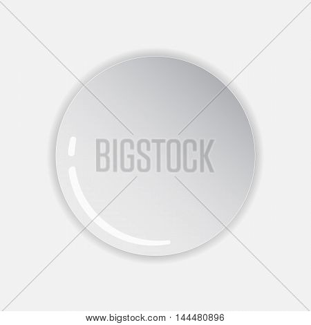 realistically made plate isolated on white background . With shadows and glare . Vector Image .
