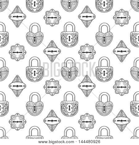 Monochromic seamless pattern with hand drawn inky locks. Vector illustration