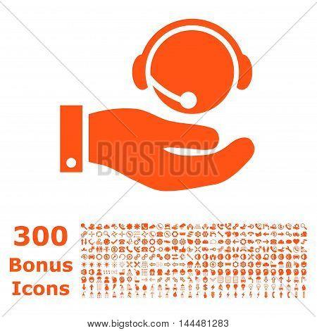 Call Center Service icon with 300 bonus icons. Vector illustration style is flat iconic symbols, orange color, white background.