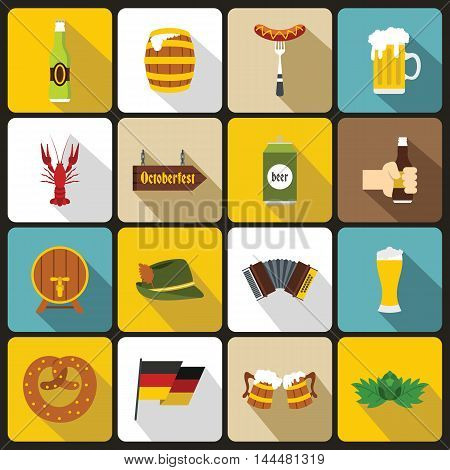 Oktoberfest icons set in flat style. Germany fest set collection. vector illustration