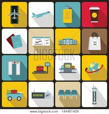 Airport icons set in flat style. Universal airport and air travel set collection. vector illustration