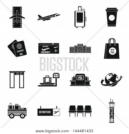 Airport icons set in simple style. Universal airport and air travel set collection vector illustration