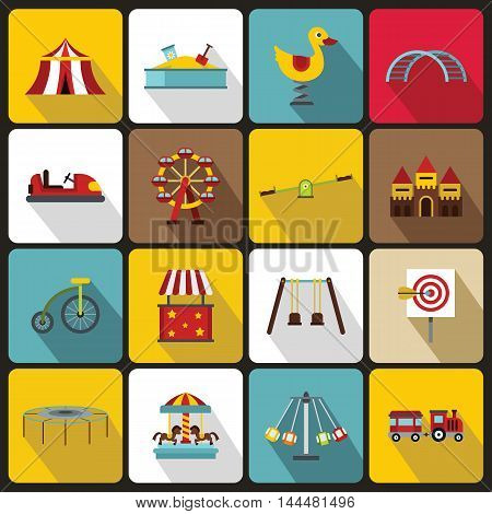 Amusement park icons set in flat style. set collection. vector illustration