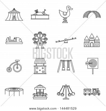 Amusement park icons set in outline style. set collection vector illustration