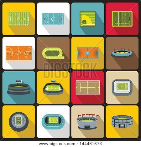 Sport stadium icons set in flat style. set collection. Sport fields set vector illustration