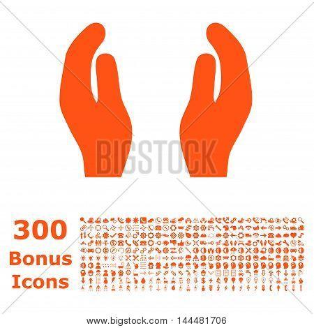 Care Hands icon with 300 bonus icons. Vector illustration style is flat iconic symbols, orange color, white background.