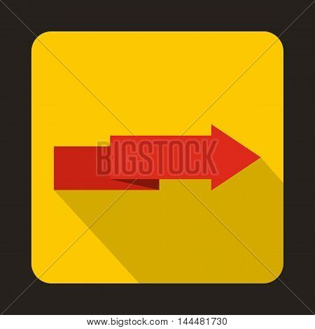 Origami red arrow icon in flat style with long shadow