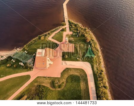 Fat lay, aerial top view of Vente Cape in Lithuania, one of the firs bird ringing place in Europe