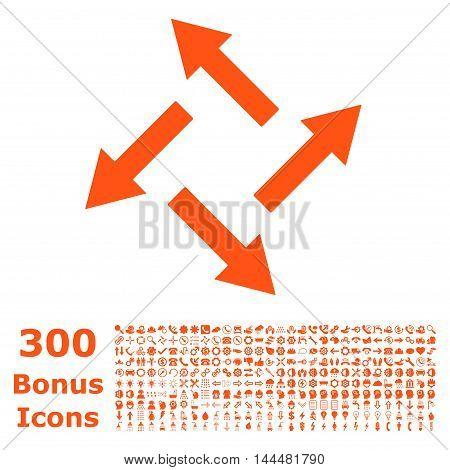 Centrifugal Arrows icon with 300 bonus icons. Vector illustration style is flat iconic symbols, orange color, white background.