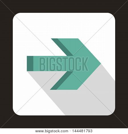 Right arrow on white background icon in flat style with long shadow