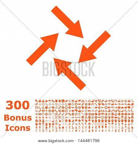 Centripetal Arrows icon with 300 bonus icons. Vector illustration style is flat iconic symbols, orange color, white background.