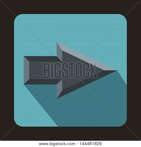 Gray arrow icon in flat style with long shadow