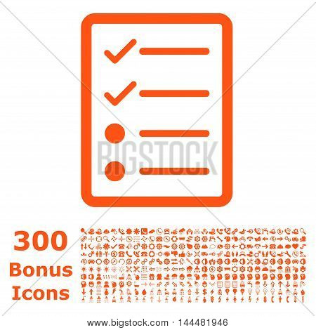 Checklist Page icon with 300 bonus icons. Vector illustration style is flat iconic symbols, orange color, white background.