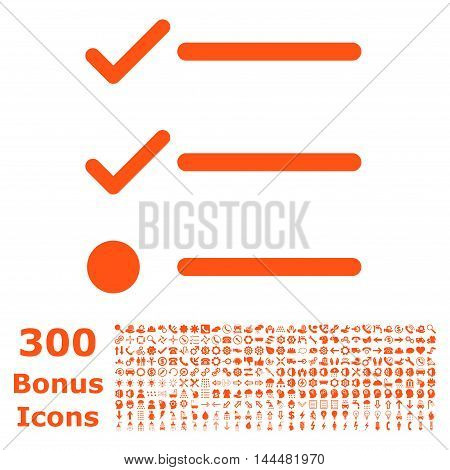 Checklist icon with 300 bonus icons. Vector illustration style is flat iconic symbols, orange color, white background.