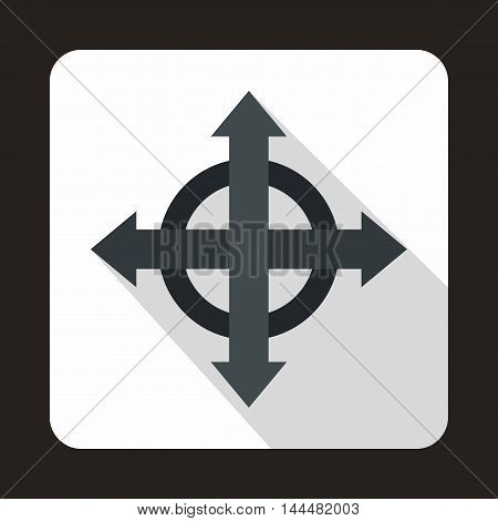 Four black arrows icon in flat style with long shadow