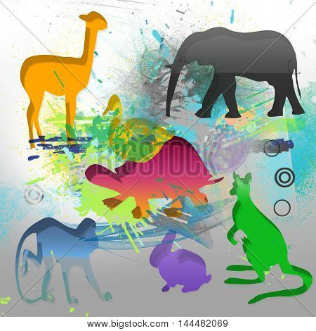 composition abstract  and background with animals fantasy