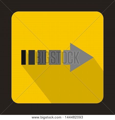 Striped arrow icon in flat style with long shadow