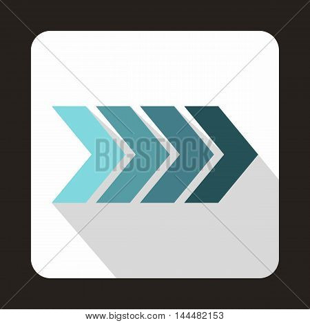 Striped gradient arrow icon in flat style with long shadow