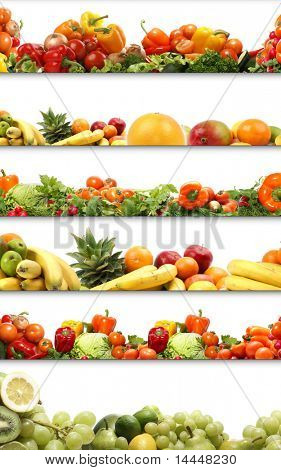 nutrition textures (fruits and vegetables isolated on white)