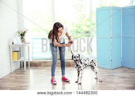 Owner with her dalmatian dog in a room