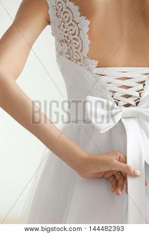 Bride in a beautiful wedding dress