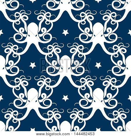 Ocean seamless pattern with octopus and stars vector