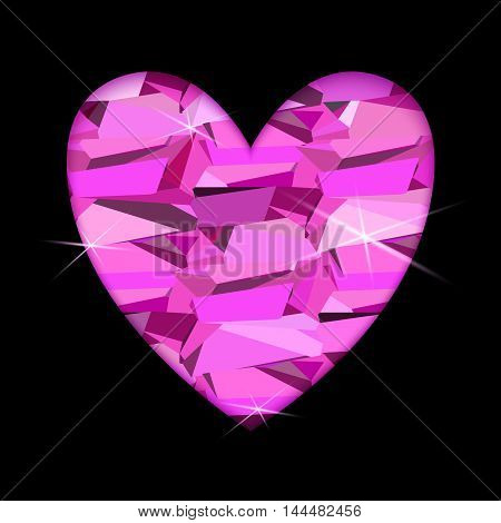 Ruby diamond heart with black background. Heart frame with pink diamond geometric pattern. Valentine love card with triangles pattern and shiny sparkles. Vector illustration stock vector.