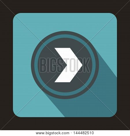 Gray button with whire arrow icon in flat style with long shadow