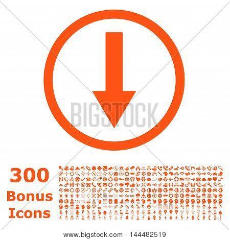 Down Rounded Arrow icon with 300 bonus icons. Vector illustration style is flat iconic symbols, orange color, white background.