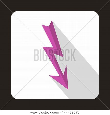 Lightning arrow icon in flat style with long shadow