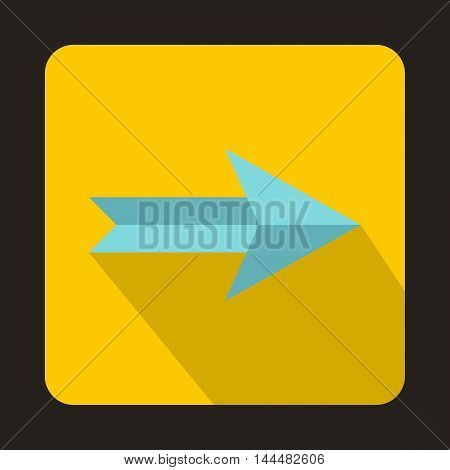 Blue right arrow on yellow background icon in flat style with long shadow