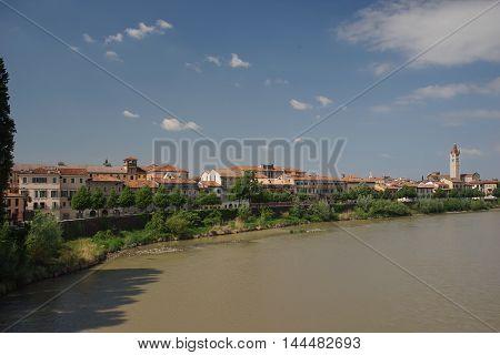 Adige river quay in Verona old city Italia Castelvecchio Castle