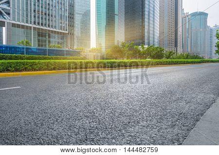 clean city road,shanghai,china.