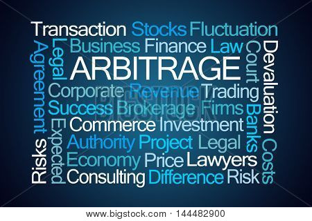 Arbitrage Word Cloud on Blue Background