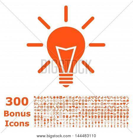 Electric Light icon with 300 bonus icons. Vector illustration style is flat iconic symbols, orange color, white background.