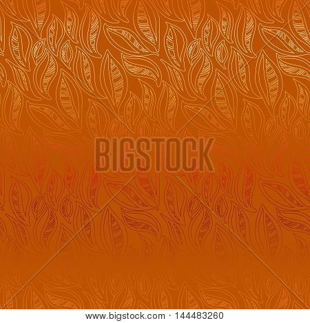 Abstract orange autumn leaves pattern background. Seamless linear floral pattern. Packing or wrapping paper, fabric design texture template. Vector illustration stock vector.