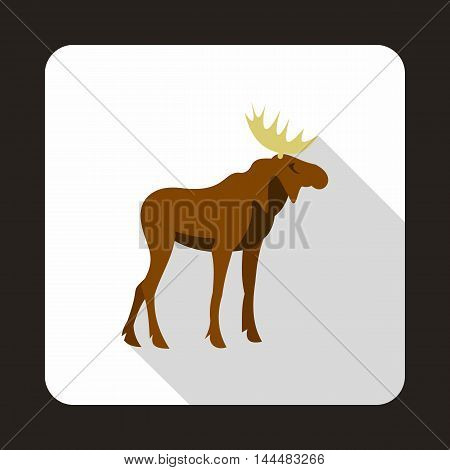 Elk icon in flat style with long shadow