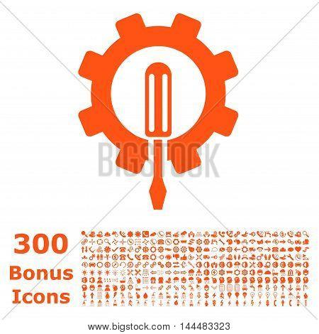 Engineering icon with 300 bonus icons. Vector illustration style is flat iconic symbols, orange color, white background.