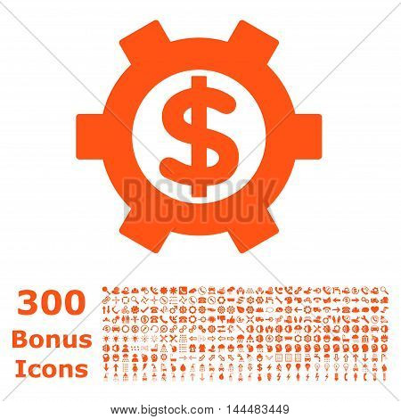 Financial Settings icon with 300 bonus icons. Vector illustration style is flat iconic symbols, orange color, white background.
