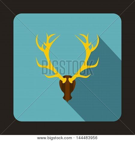 Deer head icon in flat style with long shadow