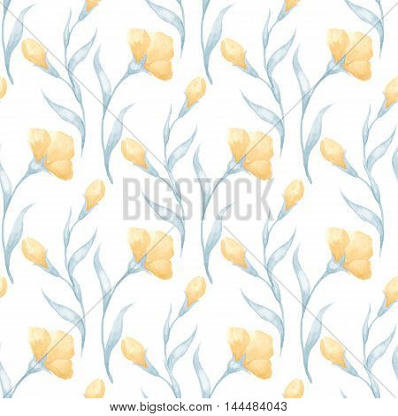 Watercolor background with flowers. Floral seamless pattern 3