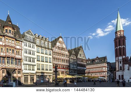 Old Traditional Buildings In Frankfurt At The Roemer Square, Germany