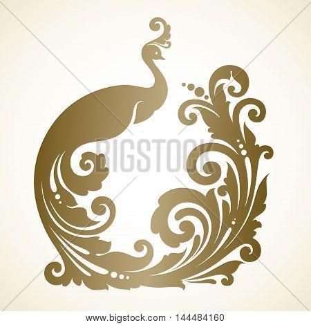 Ornamental frame with decorative magic bird. Vector illustration