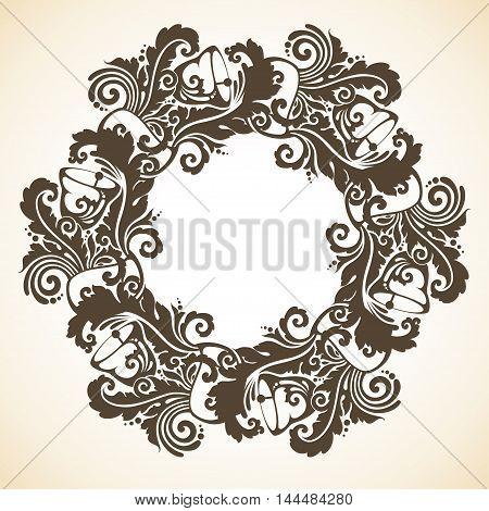 Ornamental decorative Christmas wreath. Vector round frame