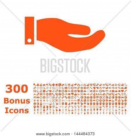 Hand icon with 300 bonus icons. Vector illustration style is flat iconic symbols, orange color, white background.