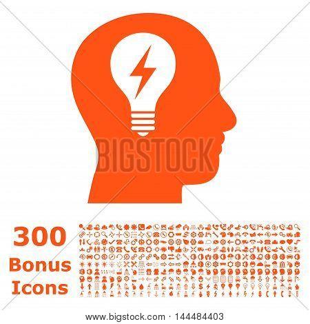 Head Bulb icon with 300 bonus icons. Vector illustration style is flat iconic symbols, orange color, white background.