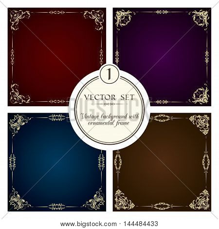 Vector set of vintage background with decorative ornamental frames and borders