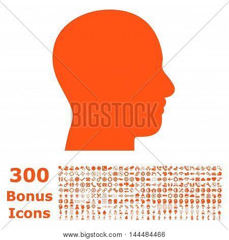 Head Profile icon with 300 bonus icons. Vector illustration style is flat iconic symbols, orange color, white background.