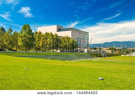New public park and building of national and university library in Zagreb, modern architecture, glass facade