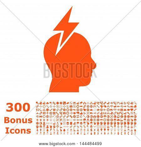 Headache icon with 300 bonus icons. Vector illustration style is flat iconic symbols, orange color, white background.